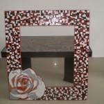 Espelho em Mosaico Flor Rosa