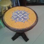 Mesa de Canto em Mosaico e Madeira Rústica