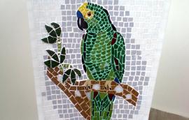 Mosaicos Diversos Vaso de Mármore e Mosaico Papagaio