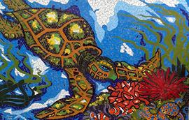 painel de Mosaico Tartaruga