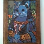 Quadro em Mosaico Mona cat Romero Britto